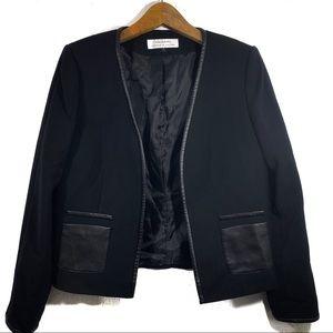 Tahari Black Vegan Leather Pocket Open Blazer
